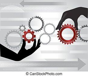mechanizmy, tokarski, ilustracja, siła robocza