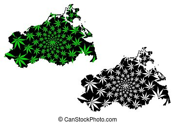 Mecklenburg-Vorpommern (Federal Republic of Germany, State of Germany, MV) map is designed cannabis leaf green and black, Mecklenburg-West Pomerania map made of marijuana (marihuana, THC) foliage,