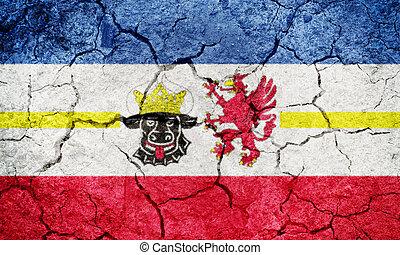 Mecklenburg-Vorpommern, state of Germany, flag on dry earth...