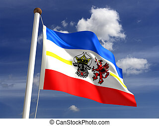 Mecklenburg-West Pomerania flag Germany (isolated with clipping path)