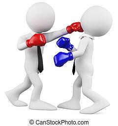 mecz, biznesmeni, boks
