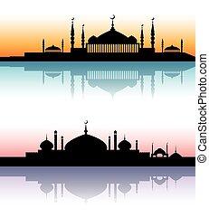 meczet, architektura, sylwetka, zachód słońca, cityscapes