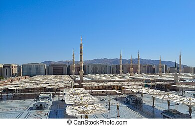 meczet, nabawi, parasol, minarety