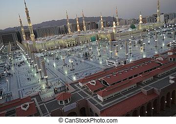 meczet, rano, nabawi, medyna