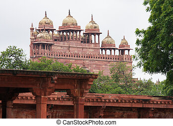 meczet, uttar, masjid, jama, fatehpur, agra, sikri, ind, pradesh