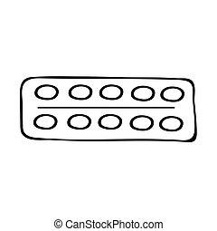 med-06 - Medicine, pack of 10 tablets. Hand drawn vector ...
