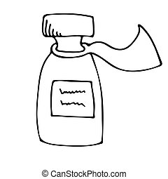 med-09 - The medicine bottle. Hand drawn vector illustration...