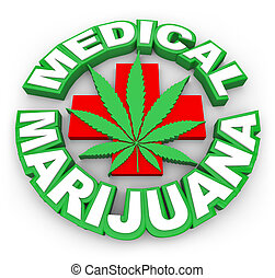 med, vender, folha, médico, marijuana, sinal, positivo, palavras, anunciar, pote