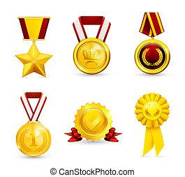 medaglia, 10eps, set, oro