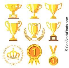 medaglia, campione, tazza, vincitore, dorato, successo