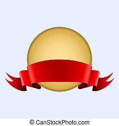 medaglia oro, in, uno, seta rossa, nastro