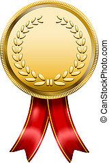 medaglia, rosetta, premio, etichetta