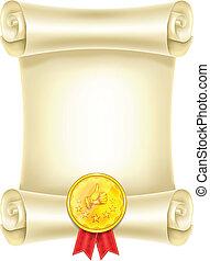 medaglia, rotolo