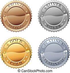 medaglie, icona, set