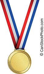 medaile, zlatý