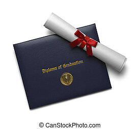 medaille, dekking, diploma, afgestudeerd