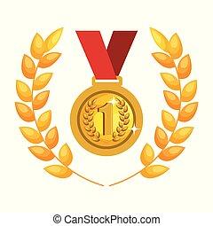 medaille, eerste plaats, pictogram