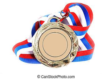 medaille, en, kleur, lint