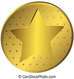 medaille, goud, sterretjes