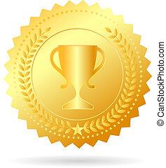 medaille, kampioen, goud