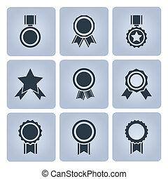 medaille, toewijzen, iconen
