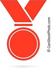 medaille, toewijzen, lint, leeg