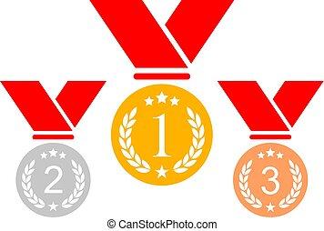 medaille, toewijzen, pictogram
