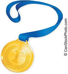 medaille, vector, goud