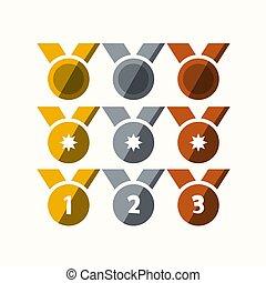 medaillen, satz, silber, bronze, gold