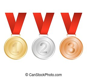 medailles, winnaars, zilver, brons, goud