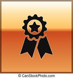 medal., étoile, or, signe., gagnant, isolé, récompense, arrière-plan., vecteur, noir, illustration, médaille, accomplissement, icône