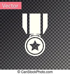 medal., étoile, signe., gagnant, isolé, récompense, arrière-plan., vecteur, illustration, blanc, médaille, transparent, accomplissement, icône