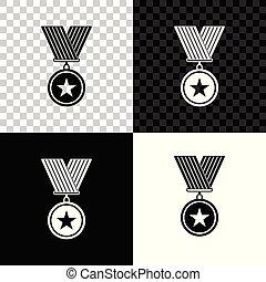 medal., étoile, signe., gagnant, isolé, récompense, arrière-plan., vecteur, illustration, noir, blanc, médaille, transparent, accomplissement, icône