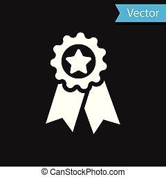 medal., étoile, signe., gagnant, isolé, récompense, arrière-plan., vecteur, noir, illustration, blanc, médaille, accomplissement, icône