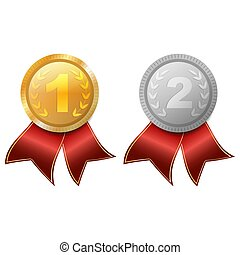 medal., 金, 隔離された, victory., バックグラウンド。, silver., 白, reward.