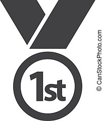Medal 1st icon in black on a white background. Vector illustration