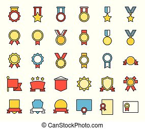 medal and badge icon, filled outline