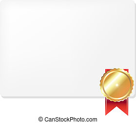 Medal And Blank Gift Tag, Vector Illustration