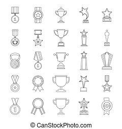 Medal award icon set, outline style