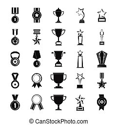 Medal award icon set, simple style