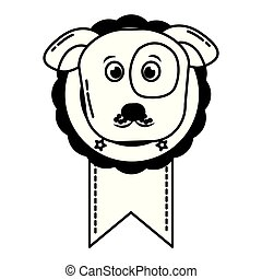 medal award with dog head prize