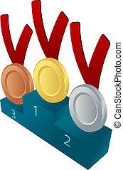 Medal awards illustration - Medal awards on pedelstal: gold,...