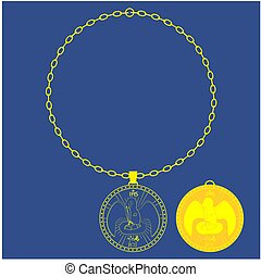 Medal chain. Divine pelican.