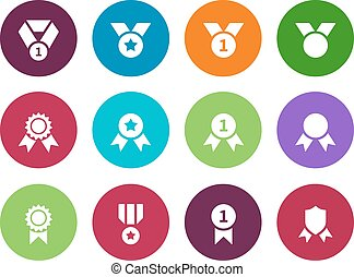 Medal circle icons on white background.