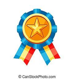 medal., colorato, oro, rosetta