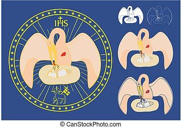 Medal colored. Divine pelican.