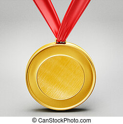 medal - gold medal isolated on a grey background
