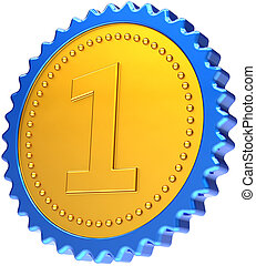 Medal first place winner badge - Award medal first place...
