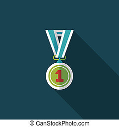 medal flat icon with long shadow, eps10