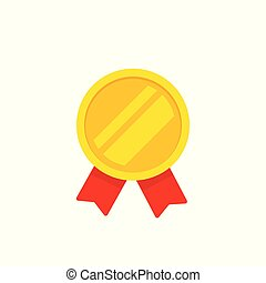 Medal gold vector icon, flat cartoon medallion golden symbol with red ribbon isolated on white clipart